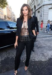 shoes,emily ratajkowski,high heels,heels,black,black suit,top,see through,bag,summer,black blazer,blazer,pants,sandals,sandal heels