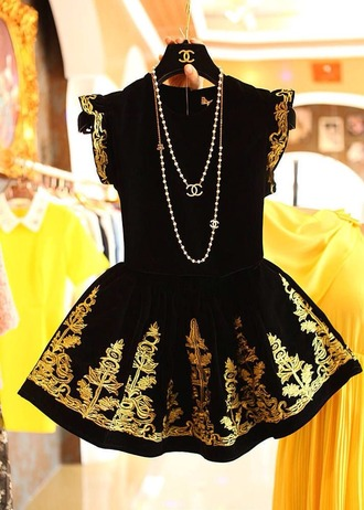 dress clothes chanel jewels chanel women fashion dress little black dress gold black embroidered chanel inspired short short dress