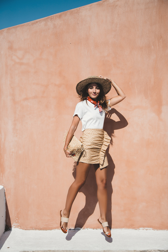 lovely pepa blogger skirt shoes t-shirt scarf bag straw hat spring outfits mini skirt summer outfits clutch flats