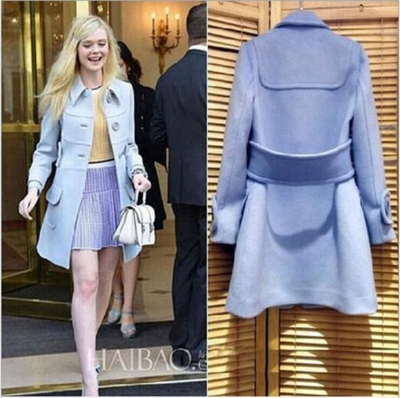 coat jacket overcoat woolen blue Belt cashmere in style long sleeve dress outerwear