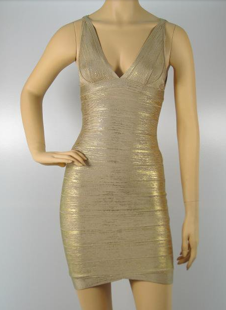 Gold Foil Print Bandage mini Dress