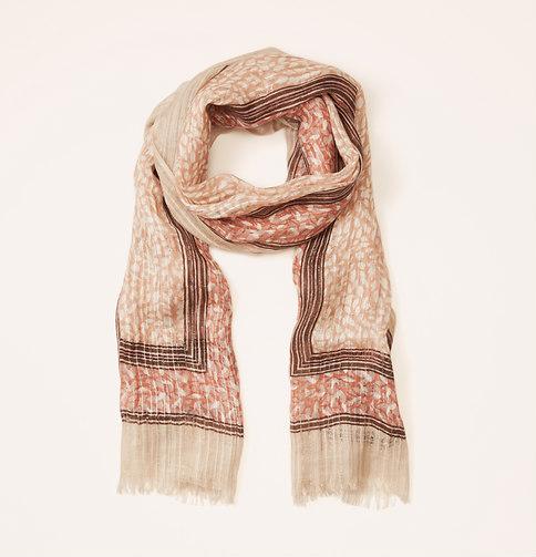 Petal print lurex stripe scarf