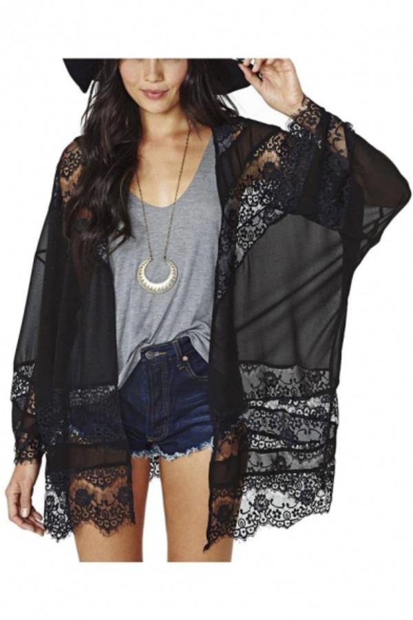 cardigan beautiful halo boho lace fashion style girly boho chic denim casual