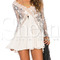 Apricot long sleeve with lace pleated dress -shein(sheinside)
