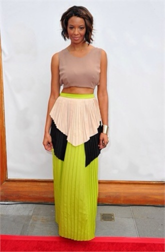 skirt neon colour block colour block maxi vanessa simmons