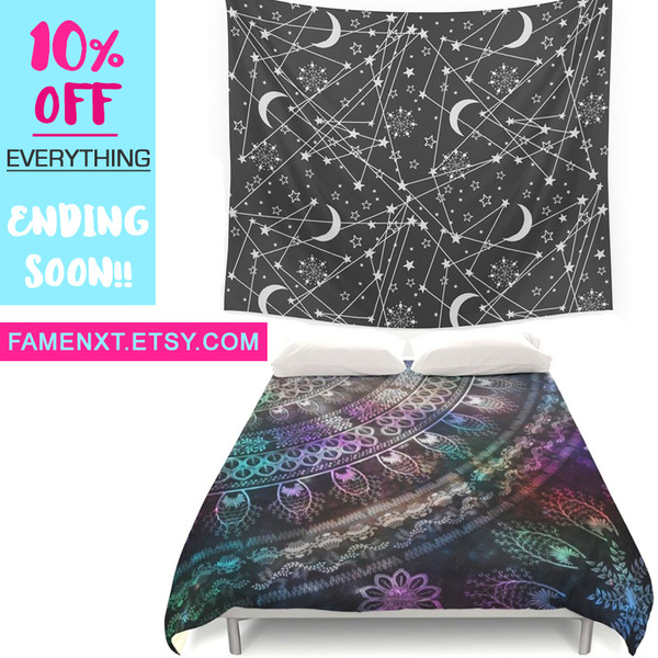 home accessory famenxt tapestry galaxy print space mandala duvet boho home decor bedding boho bedding sun moon stars teen bedrooms dorm room brands sale