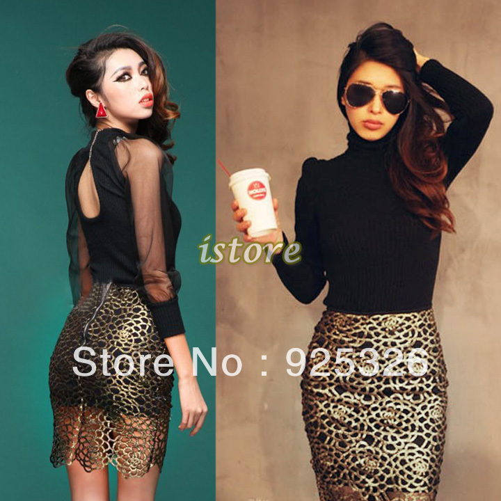 2013 High waist skirts Elegant Restore hollow out Floral Girl Skirt Short Bag Hip Lace Skirt Pencil Skirt Black Golden 16296-in Skirts from Apparel & Accessories on Aliexpress.com
