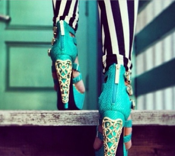 shoes gold open toes high heels light blue aqua high heels summer shoes striped pants summer snake skin