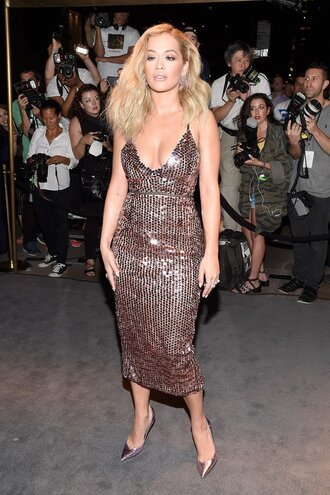 dress midi dress sequins sequin dress rita ora pumps ny fashion week 2016 plunge v neck plunge dress gown prom dress shoes gold sequins gold sequins dress