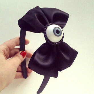 hat headband black bows blue eyes halloween jewels pastel goth hair accessory eyeball accessory