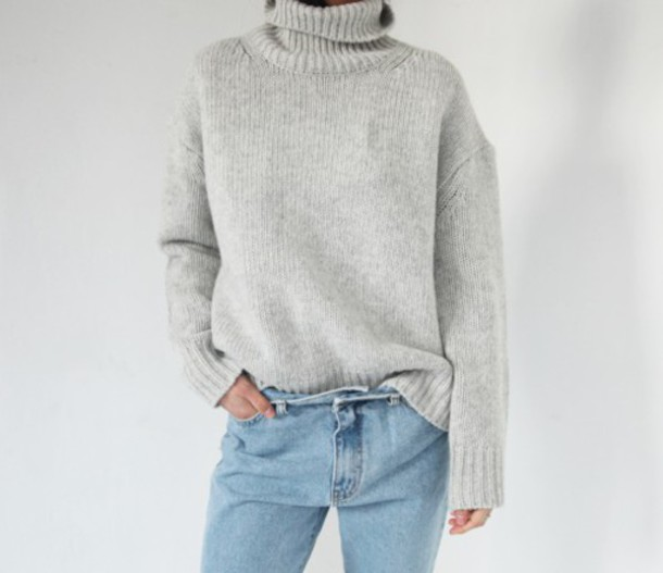 Sweater: jumper, turtleneck, grey sweater, jumper, oversized ...