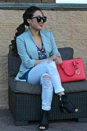 gracefullee made,blogger,jacket,sunglasses,make-up,jewels,ripped jeans,black boots,red bag,blazer