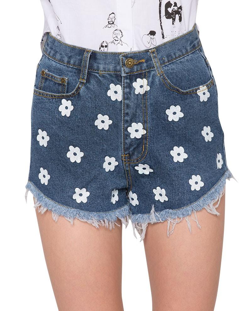 Holland Hunter Green High Waisted Floral Paperbag Shorts