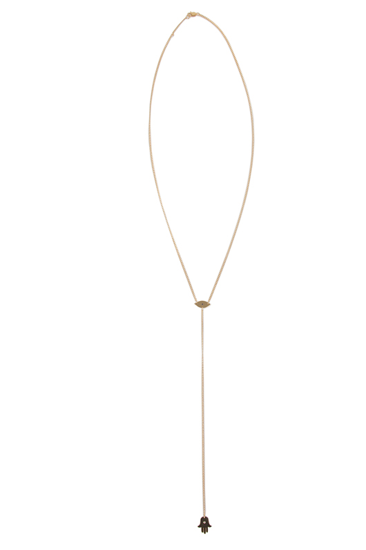 Jennifer Zeuner Eye/Hand Lariat Necklace with Diamond and Sapphire in Gold | SINGER22.com