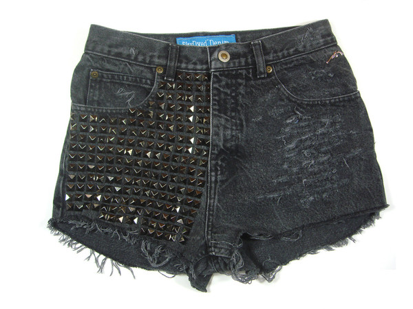 Grey Studded Vintage Shorts | Created by Fortune