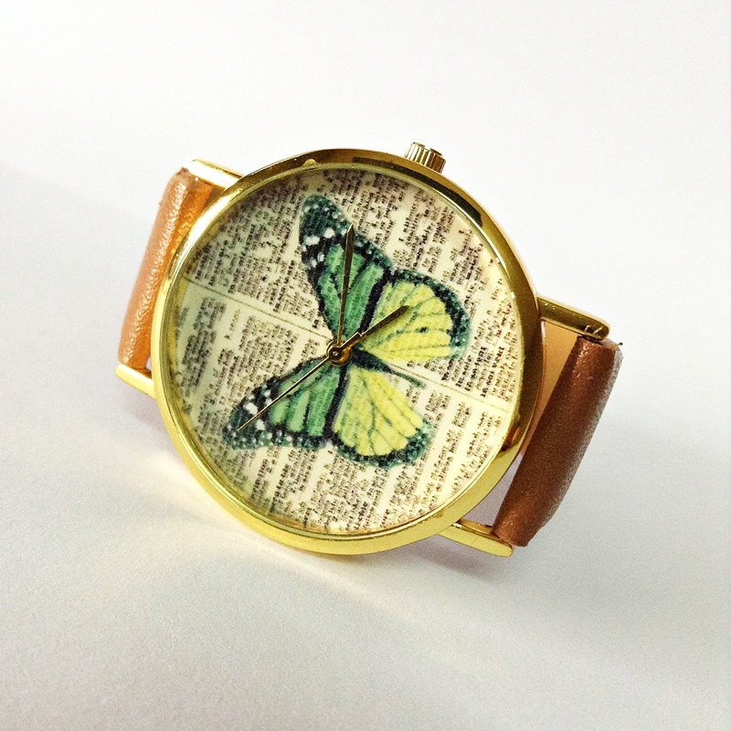 Butterfly Watch , Vintage Dictionary Print, Vintage Style Leather Watch, Women Watches, Unisex Watch, Boyfriend Watch, Green Butterlfy, Tan