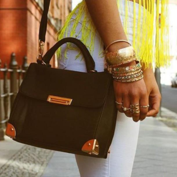 bag black gold jewels