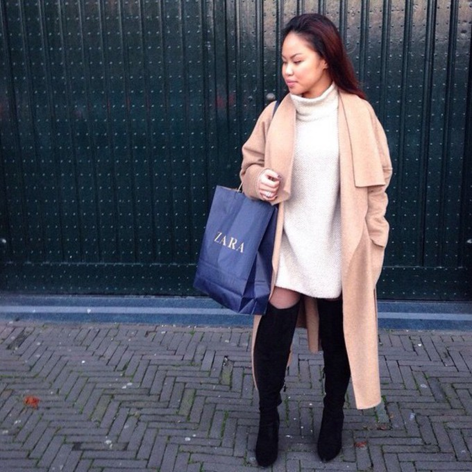 High Neck Sweater Dress Cable Knit High Neck Sweater
