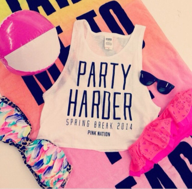 tank top, white tank top, quote on it, party, spring break ...