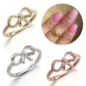 Bow Ribbon Knot Top of Finger Over The MIDI Tip Finger Above The Knuckle Ring | eBay