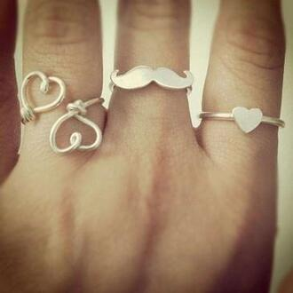 jewels ring jewelry fashion heart accessory moustache