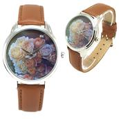 jewels,flowers,watch,flowery watch,brown,romantic watch,beautiful watch,roses,designer watch,unique watch,unusual watch,leather watch,ziz watch,ziziztime