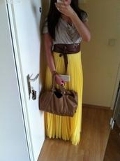skirt,yellow,maxi skirt,pleated