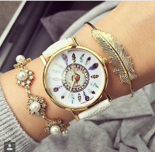 jewels fashion gold gold bracelet bracelets gold bracelet pearl diamonds feathers gold watch watch instagram instagram girl girly girly wishlist