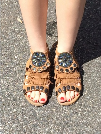 shoes sandals aldo fringe medallion suede brown flat fringe shoes