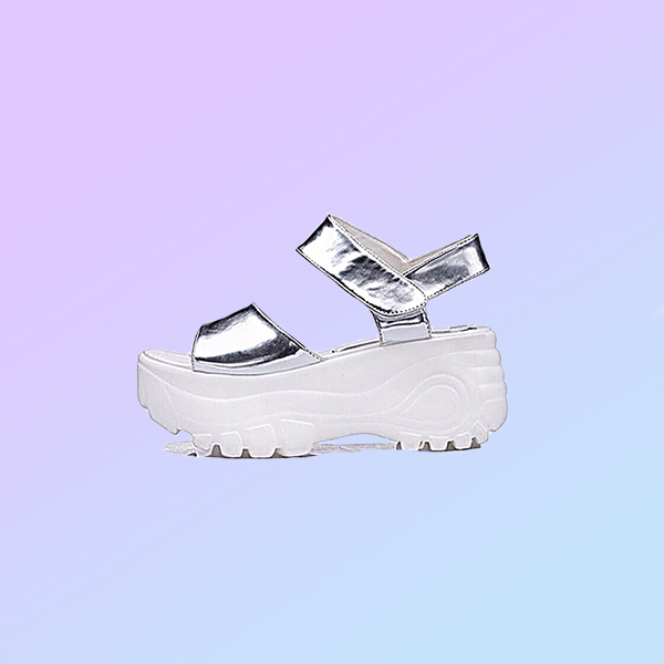 90s space babe sandals (silver) from petmilk on storenvy