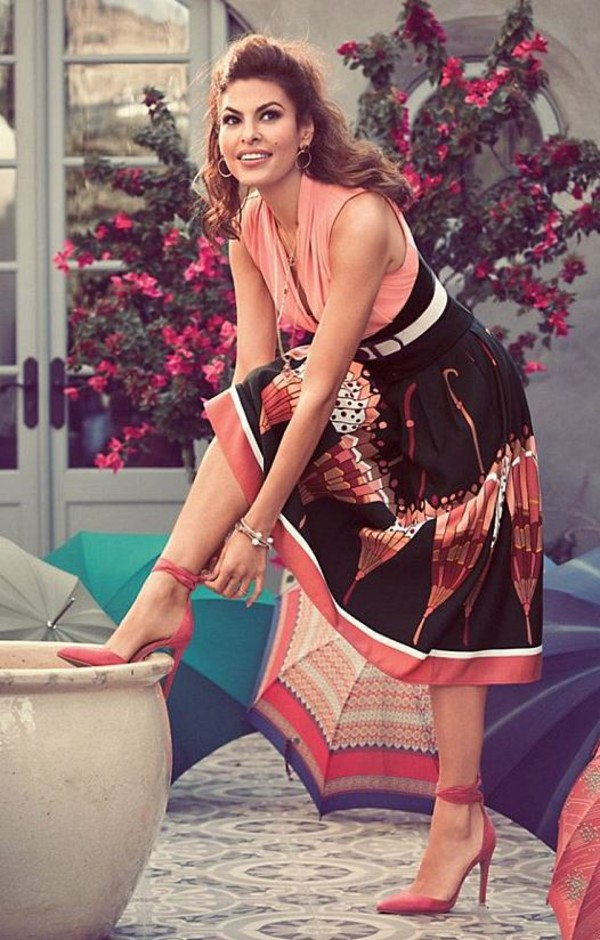 skirt pumps midi skirt eva mendes top blouse