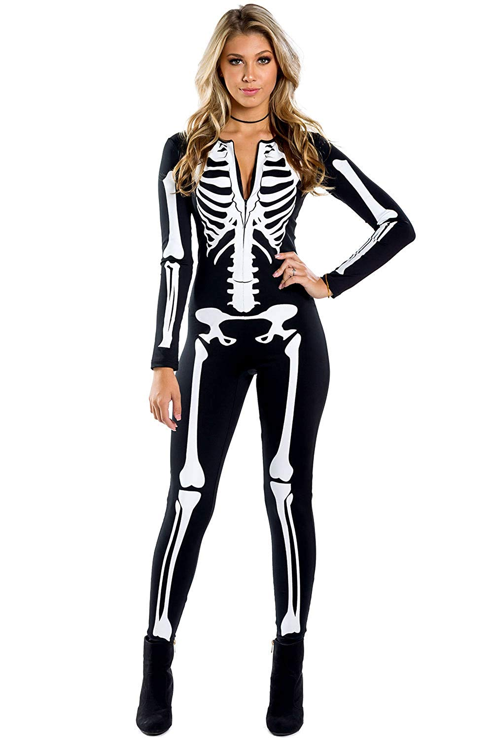 Amazon.com: Tipsy Elves Women's Skeleton Halloween Costume Bodysuit Back Printing - Sexy Skeleton Costume Jumpsuit Female: Clothing