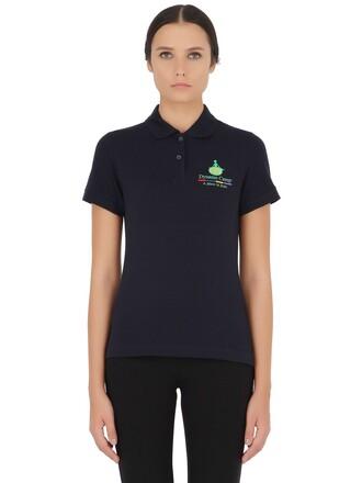 shirt polo shirt cotton navy top