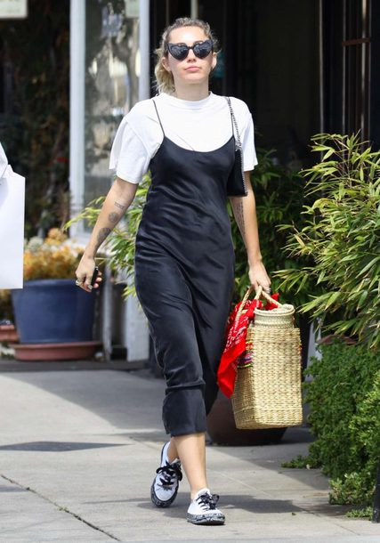 dress camisole slip dress miley cyrus streetstyle black and white midi dress top celebrity spring outfits