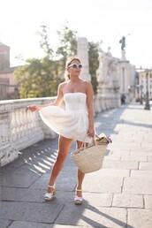 frassy,shoes,bag,sunglasses,basket bag,sandals,sandal heels,white sandals,white dress,white sunglasses,summer dress,summer outfits