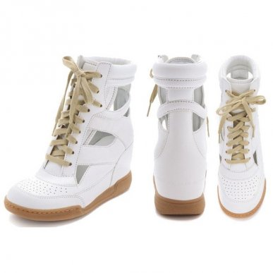 Marc by marc jacobs cutout leather wedge sneakers in white on sale