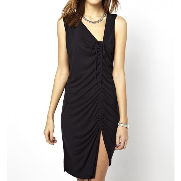 Asymmetrical Drawstring Vest Dress With Thigh Split at Style Moi