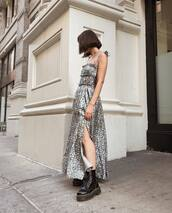 dress,boots,shoes,metallic dress,silver dress,long dress,lefashion,blogger,maxi dress,chunky boots