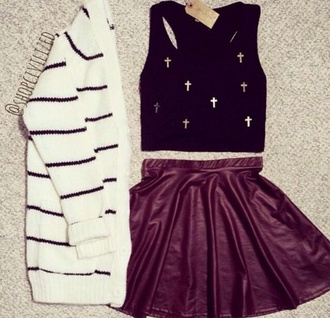 top vest cross cross vest cardigan skater skirt