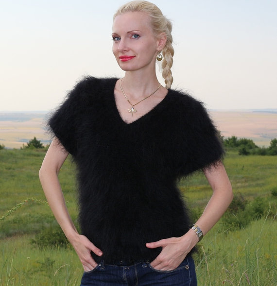 V neck short sleeved hand knitted mohair sweater in by supertanya