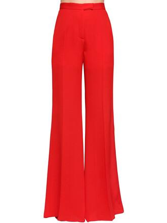 pants silk red
