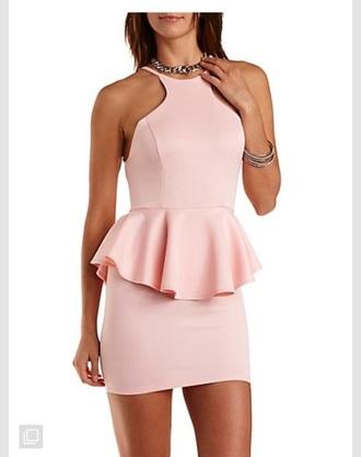 dress pink dress peplum pastel dress