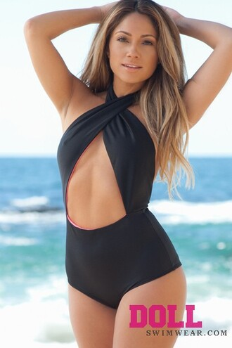swimwear black high waisted underboob wrap baithing suit baitingsuit sexy cut-out