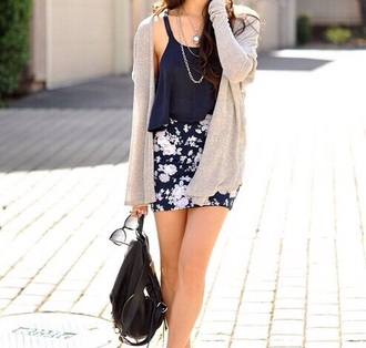 skirt style fashion flower skater skirt flower skirt clothes floral skirt cardigan top tank top crop tops