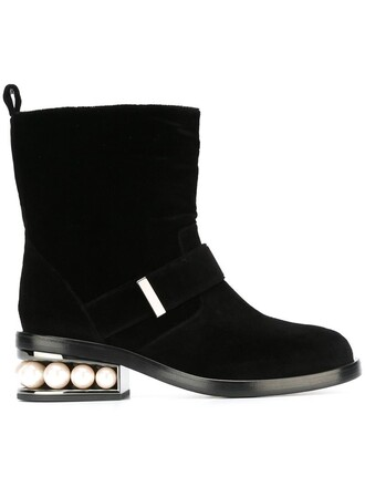 biker boots pearl boots black shoes