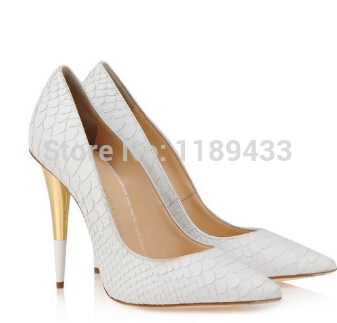 2014 14cm Latest fashion top quality white snakeskin leather pumps daffodile pointed toe metal heel party high heel shoes-in Women's Pumps from Shoes on Aliexpress.com | Alibaba Group