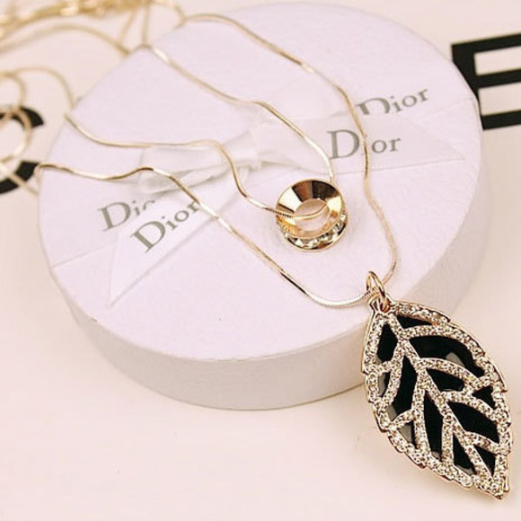 leaf jewels necklace elegant rhinestone