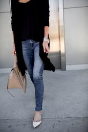 krystal schlegel,blogger,tank top,sweater,sunglasses,make-up,handbag,ballet flats,skinny jeans,jeans,tumblr,top,black top,cardigan,blue jeans,denim,flats,pointed toe flats,bag,nude bag,black cardigan