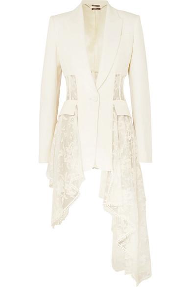Alexander McQueen - Asymmetric wool-blend crepe and lace blazer