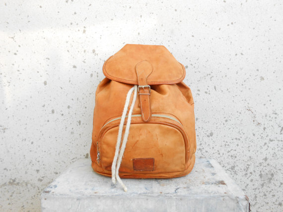 Vintage Tan Brown Leather Backpack // Leather by VindicoShop